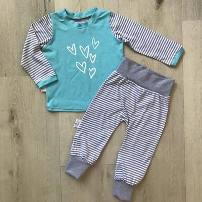 Aqua and grey hearts PJ set