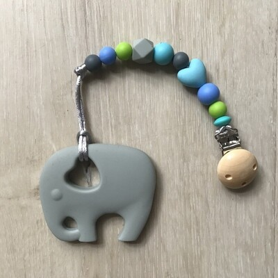 Grey Ellie teether with matching clip