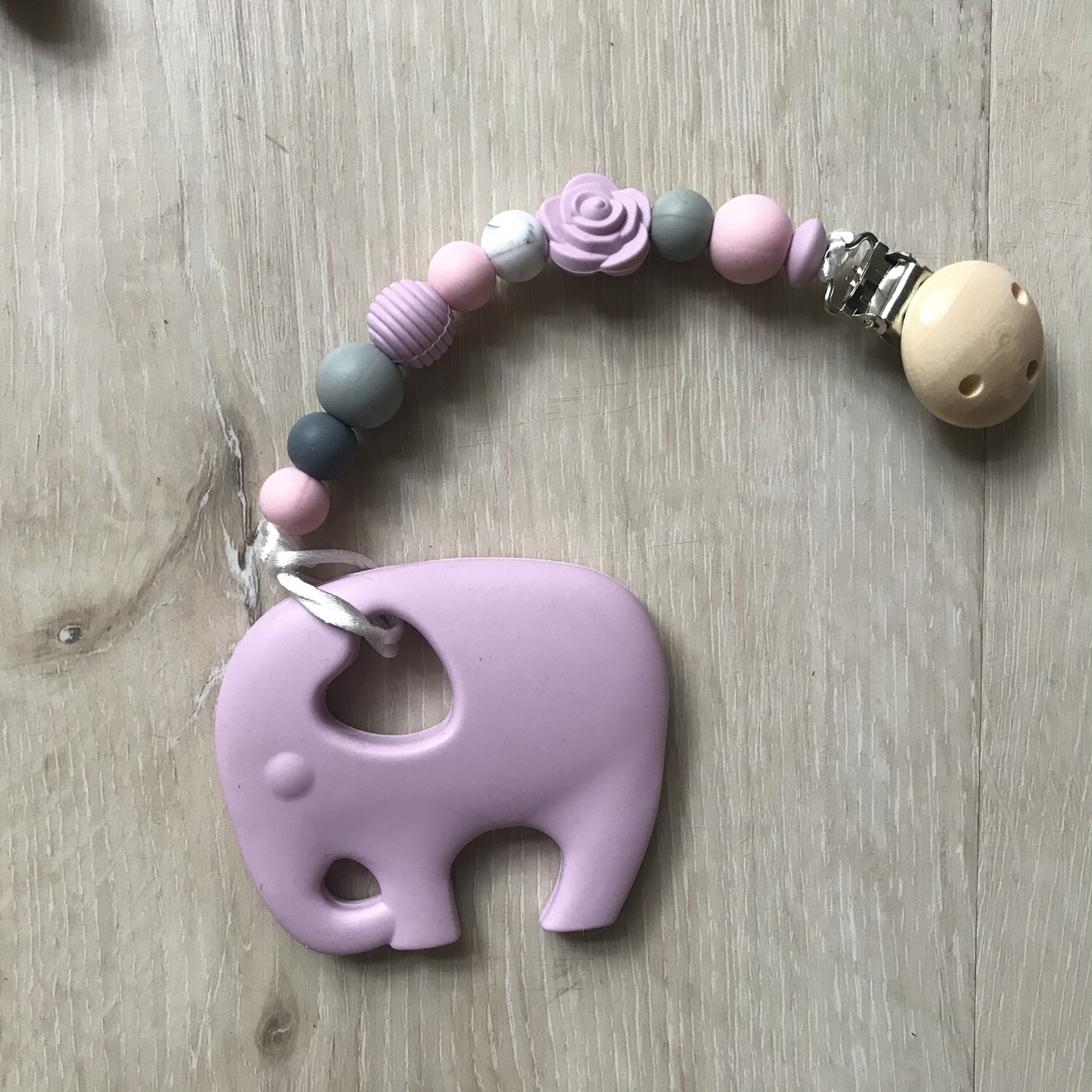 Lilac Ellie teether with matching clip