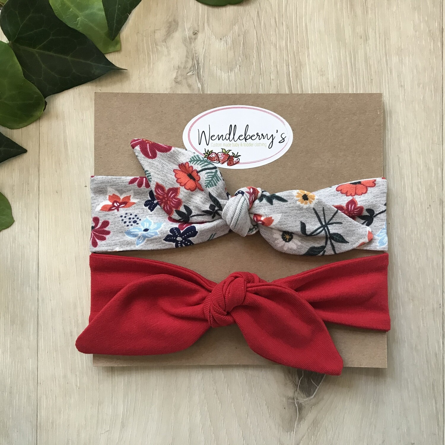 Floral and red headband set