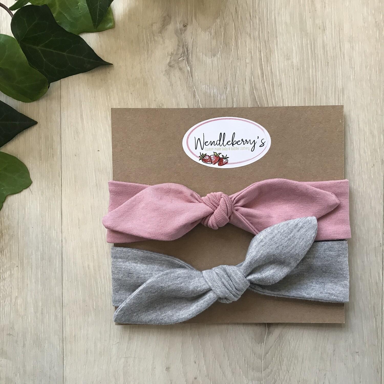 Pink and grey headband set