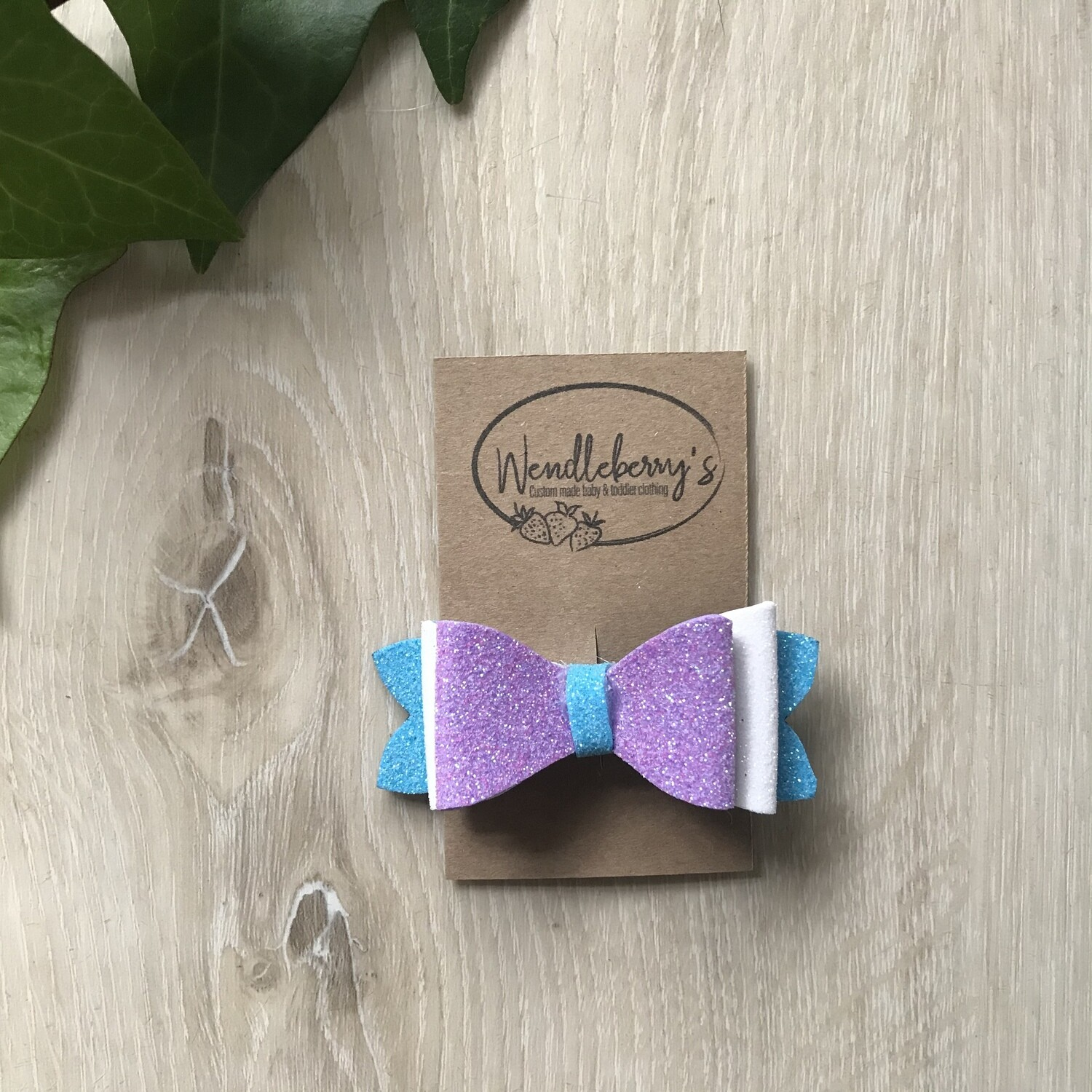 Turquoise, lilac and white bow clip