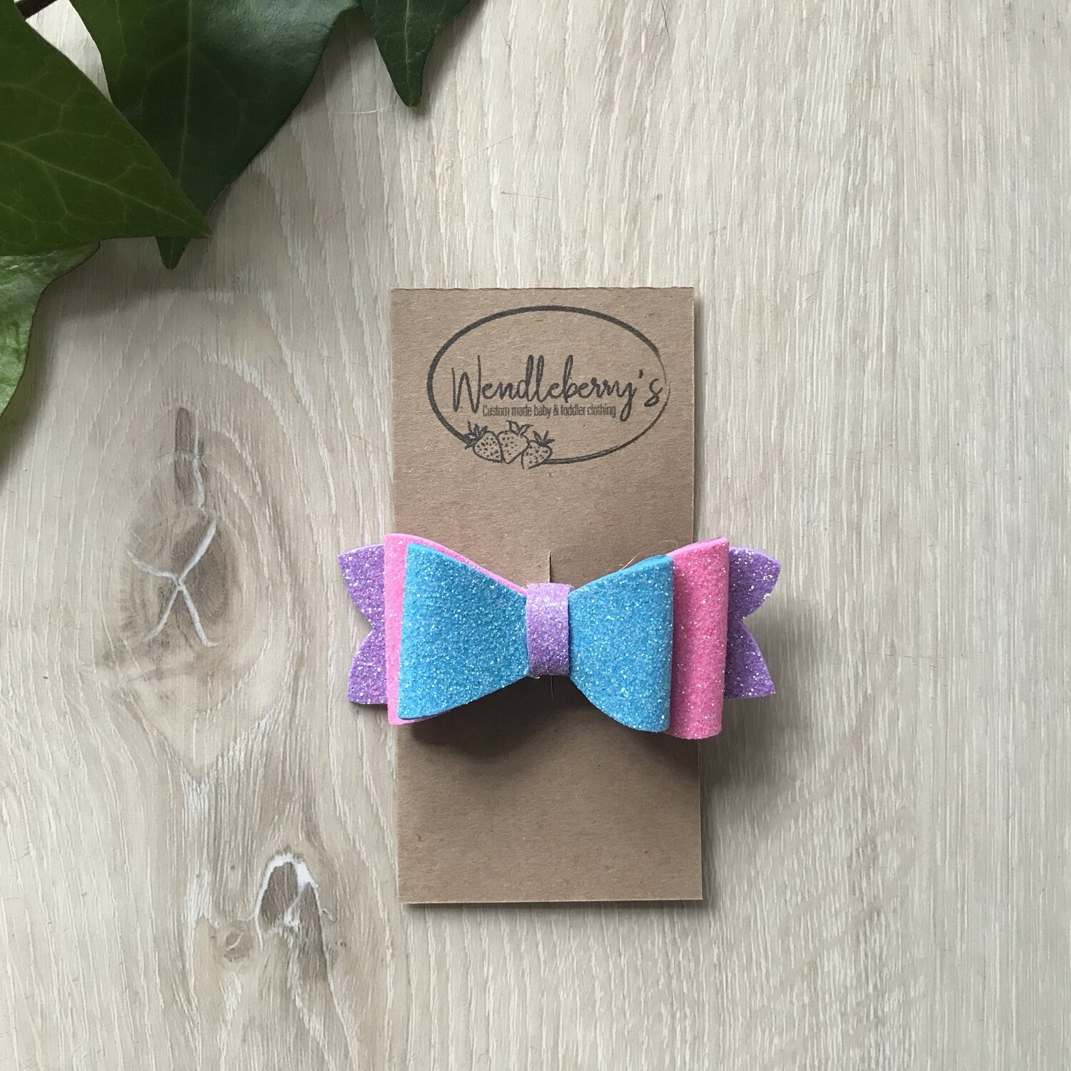 Turquoise, lilac and pink bow clip
