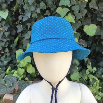 Turquoise dots Shweshwe bucket hat
