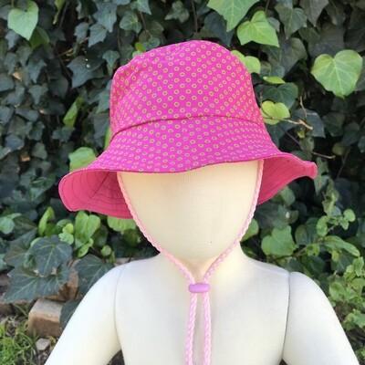Pink dots Shweshwe bucket hat