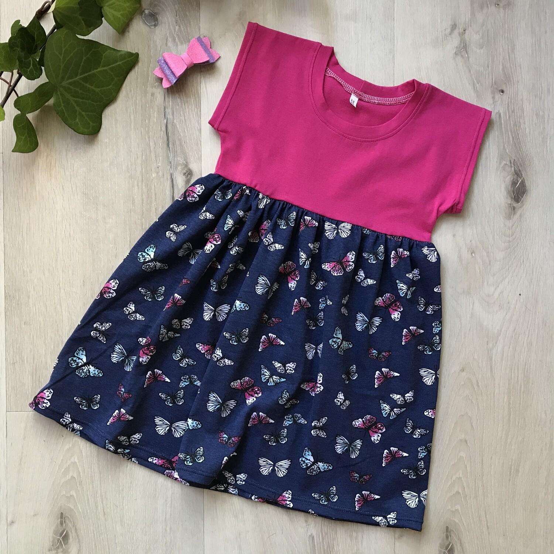 Pink butterfly dolman dress