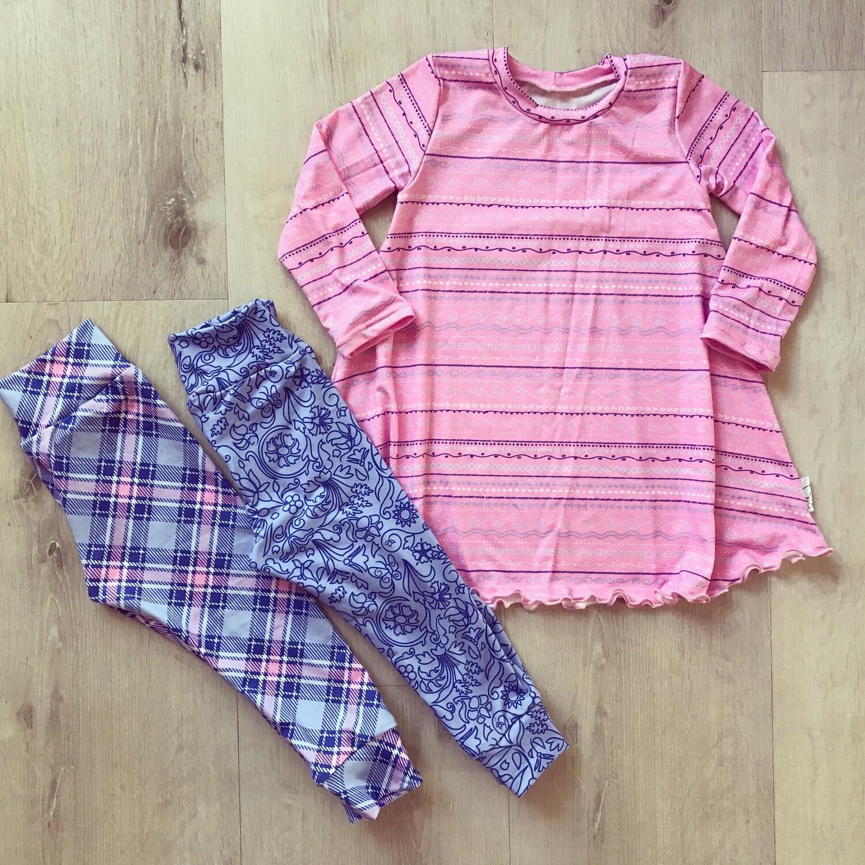 Pink doodle dress and leggings Set