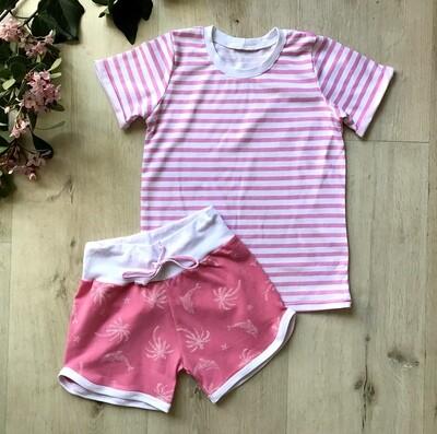 Tropical retro shorts and striped tshirt set