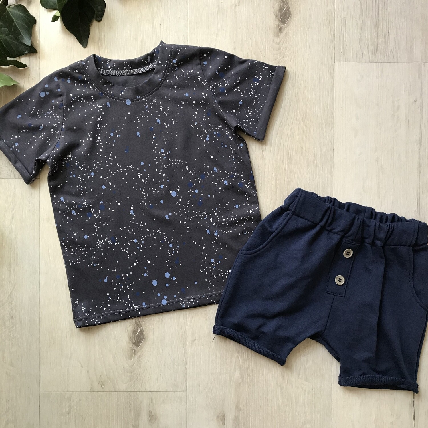 Charcoal spotty tshirt with navy lounge shorts