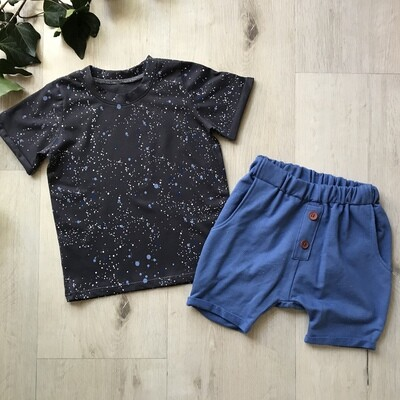 Charcoal spotty tshirt with royal blue  lounge shorts