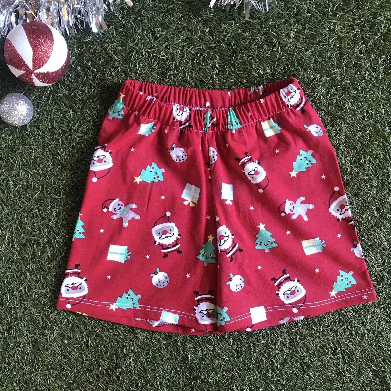 Red Christmas print shorts