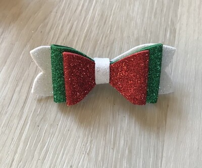 Christmas bow-white, red and green