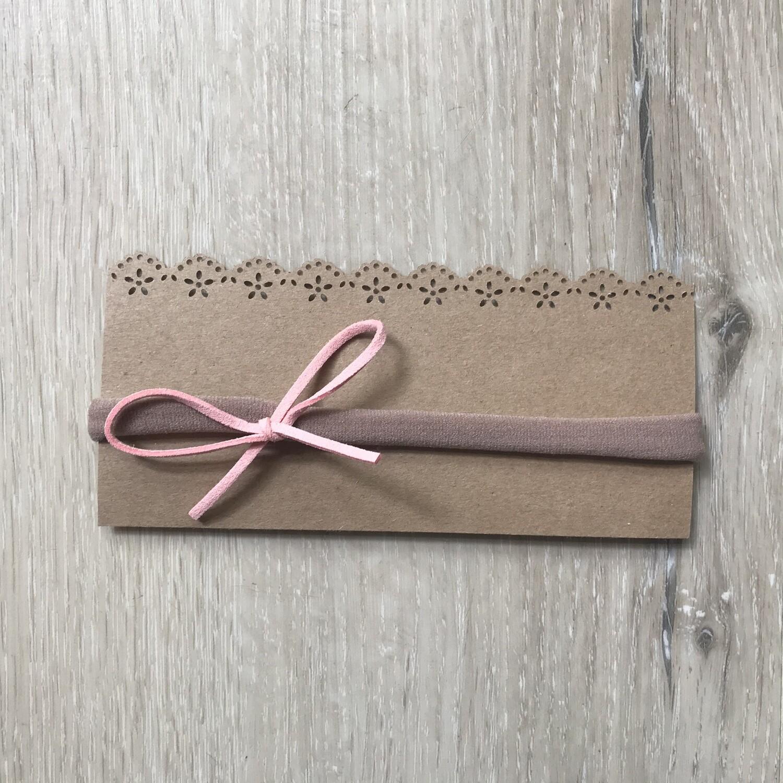 Pink leather bow headband