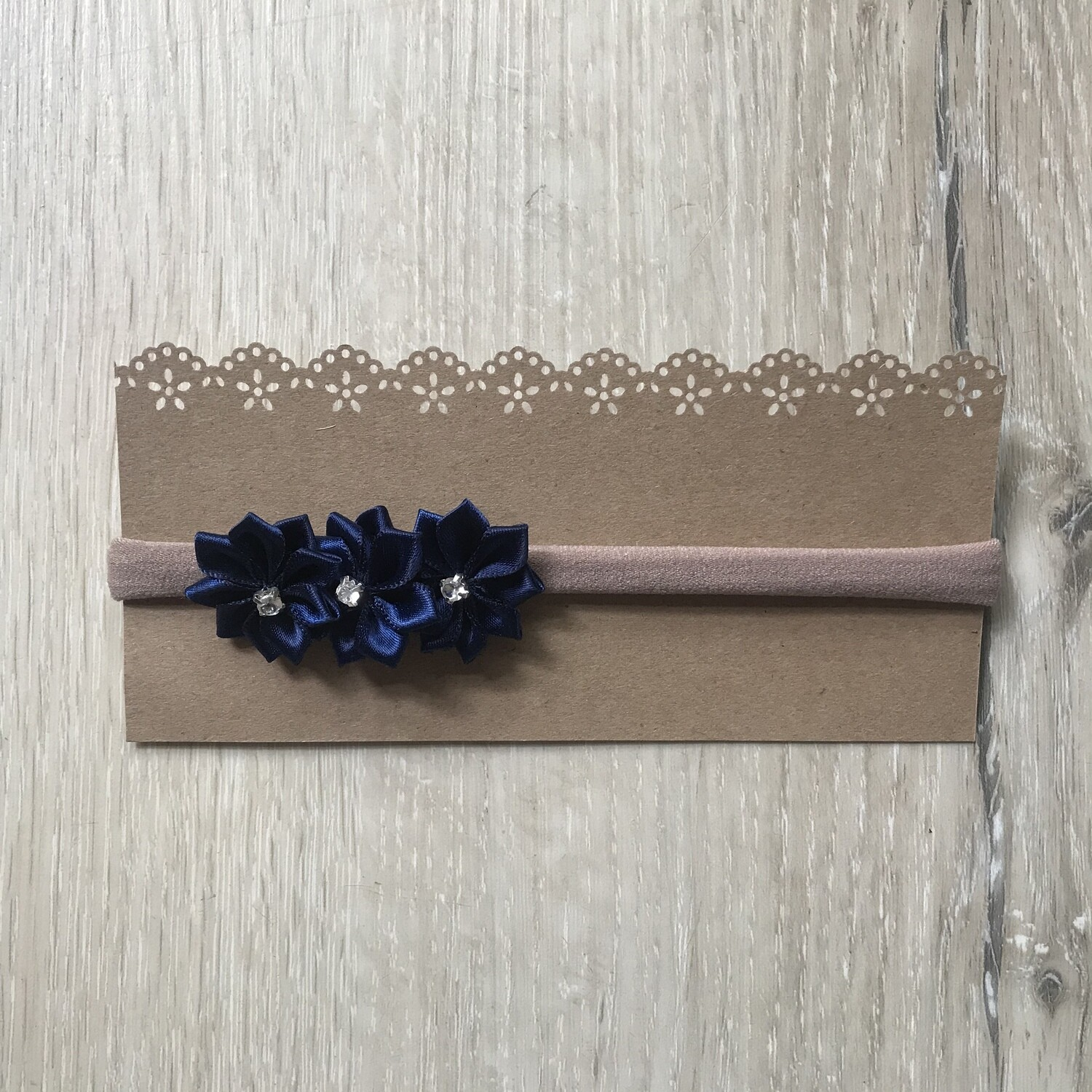 Navy diamanté flower headband