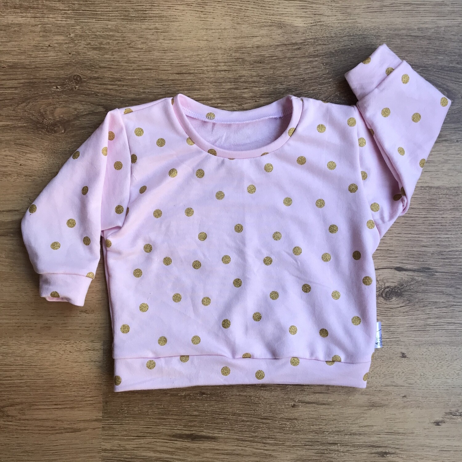 Pink and gold polka dot lounge sweater
