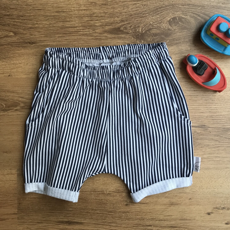 Navy pinstripe lounge shorts