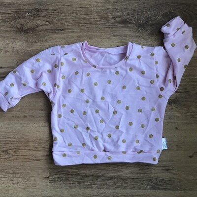 Pink and gold polka dot sweater