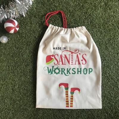 Santa's workshop gift bag.
