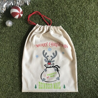 Reindeer mail gift bag.