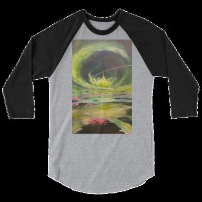 Tranquil Convergences 3/4 sleeve raglan shirt Artwork By Nigel Roper