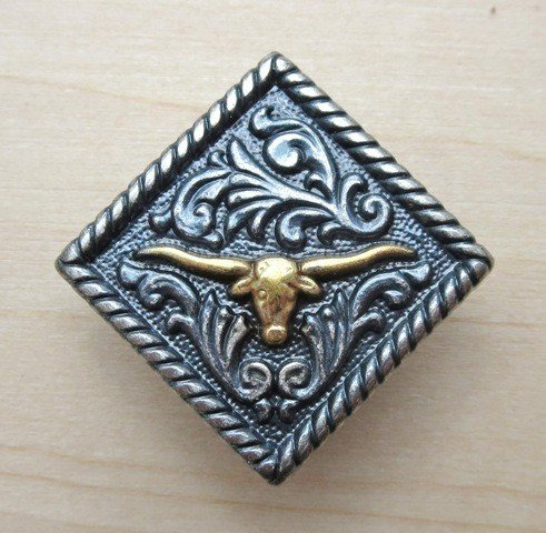 "Concho Diamond Longhorn Silver/Gold 1 1/4"" ~ TL2135ASG"