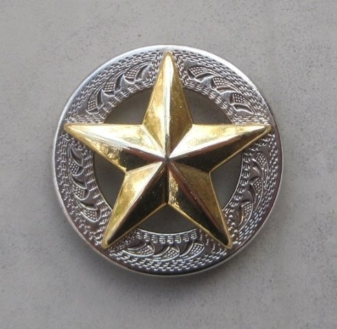 "Concho with Raised Gold Star 1"" ~ R1498NG"