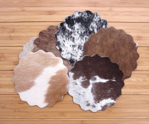 Scalloped Cowhide Coasters