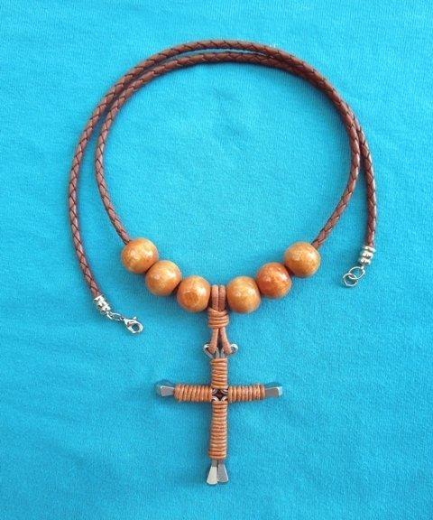 Horseshoe Nail Cross Bolo Necklace