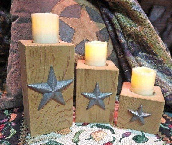 Cedar Star Candle Holders ~ Set of 3