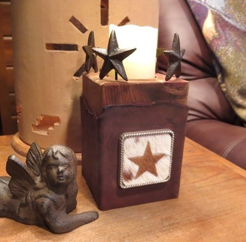 Leather Star Candle Holder ~ JO15012