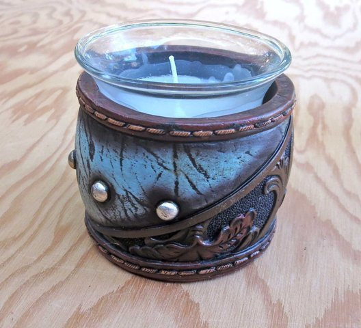 Tooled Leather Candle Holder ~ RB96776