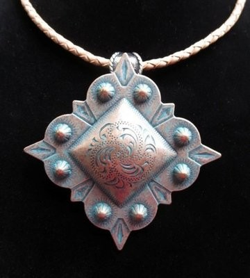 Concho Necklace ~ Square Berry ~ Copper