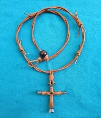 Horseshoe Nail Cross Necklace ~ Natural