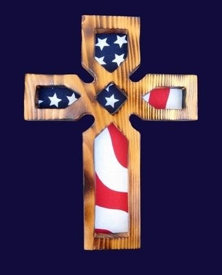Cross with US Flag ~ NFC002
