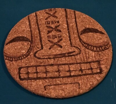Wood-burned Cork Trivet, Tiki (Grin 2)