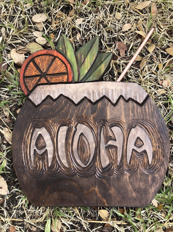 Wood carving: Aloha Coconut Cocktail