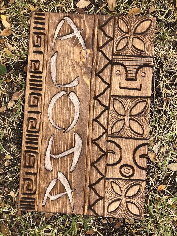 Wood Carving: Aloha Plaque