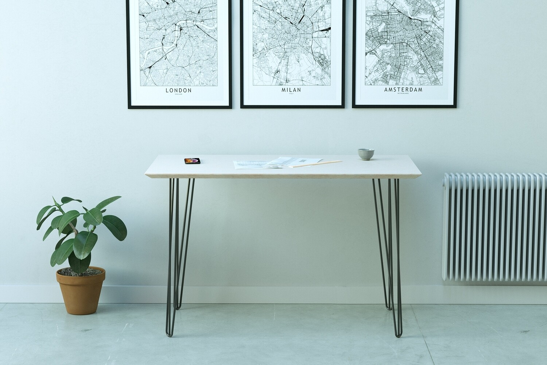 Minimalist Style Desk | Premium Birch Plywood Desk with Hairpin Legs