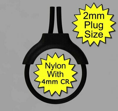 Pro Estim Penis Play Conductive 4mm Rubber Cock Loop & Nylon Insulator 2mm Plug, Black