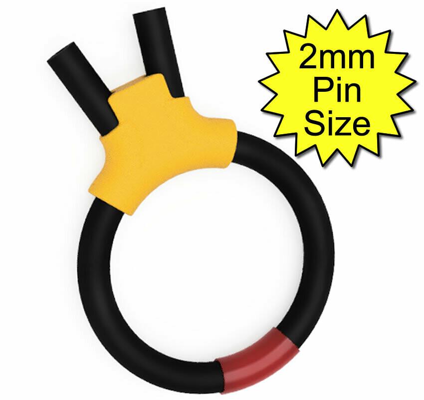 Estim Bipolar Penis Play Conductive 6mm Rubber Cock Loop 2mm Plug, Yellow