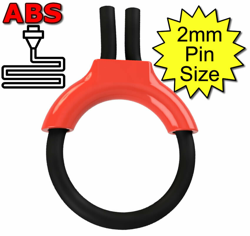 ABS Estim Penis Play Conductive 6mm Rubber Cock Loop & Insulator 2mm Plug Red