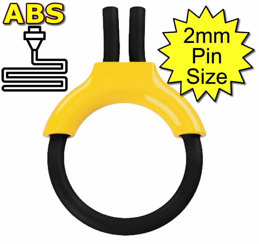 ABS Estim Penis Play Conductive 6mm Rubber Cock Loop & Insulator 2mm Plug Yellow