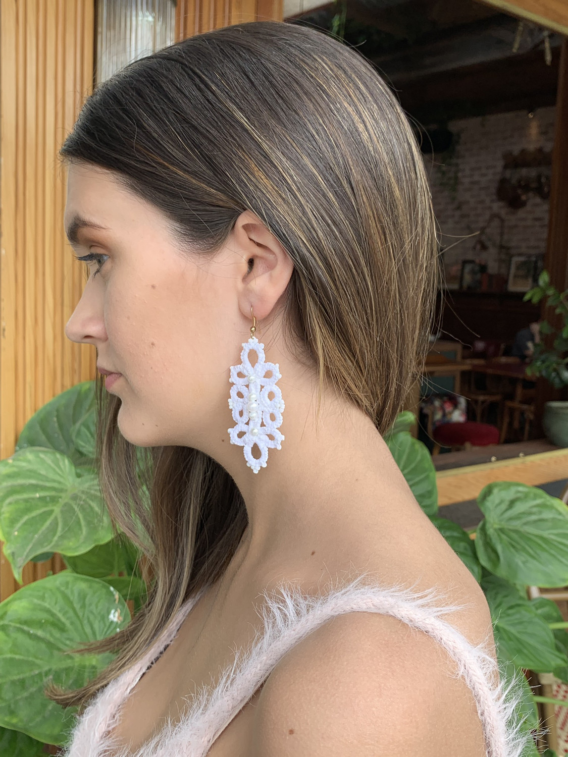White With Pearl Tatty Earrings