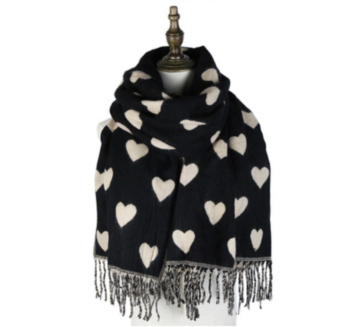 Heart Scarfe Black/white
