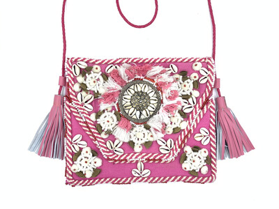 Pink Leather Shell Bag