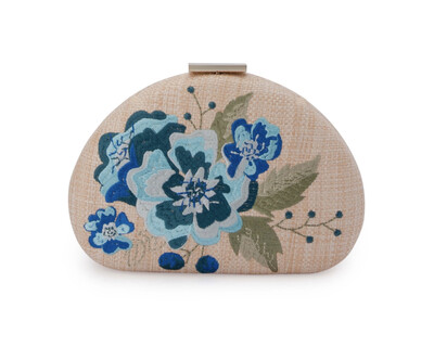 Flora embroidery clutch
