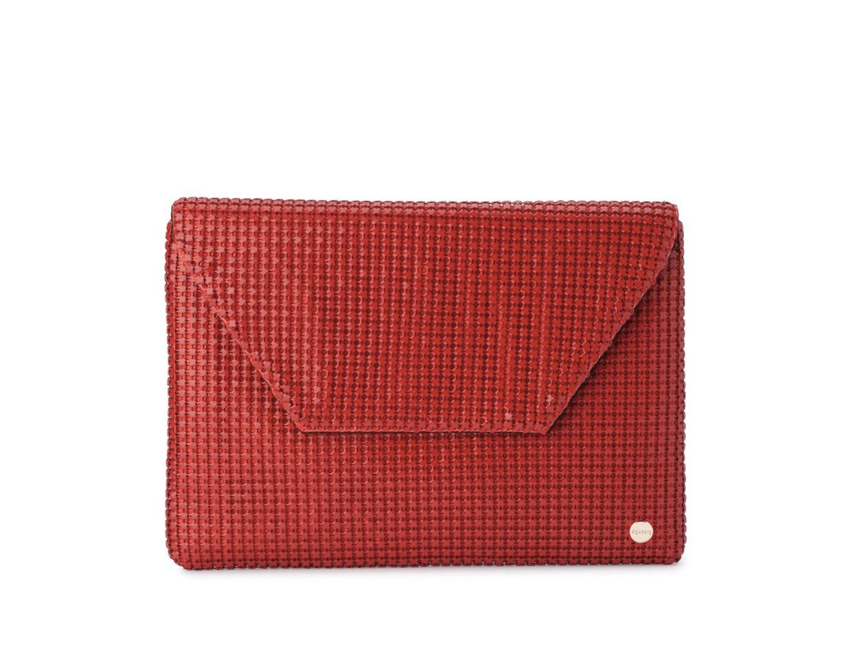 Starlight Mesh Envelope Clutch Red