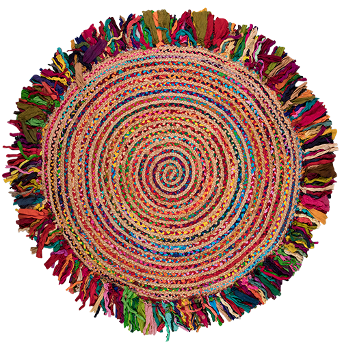 Multi Cotton Braided Jute Round Rug 90cm