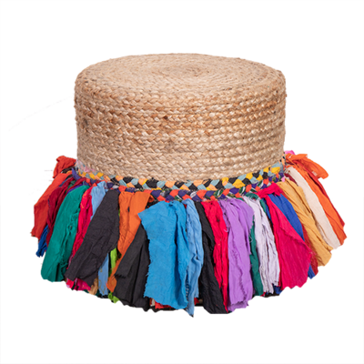Jute Pouffe with Multi Color Fringing
