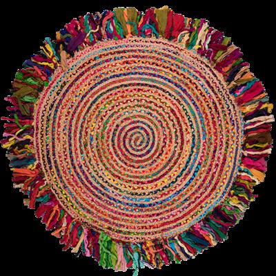 Multi Cotton Braided Jute Round Rug 135cm